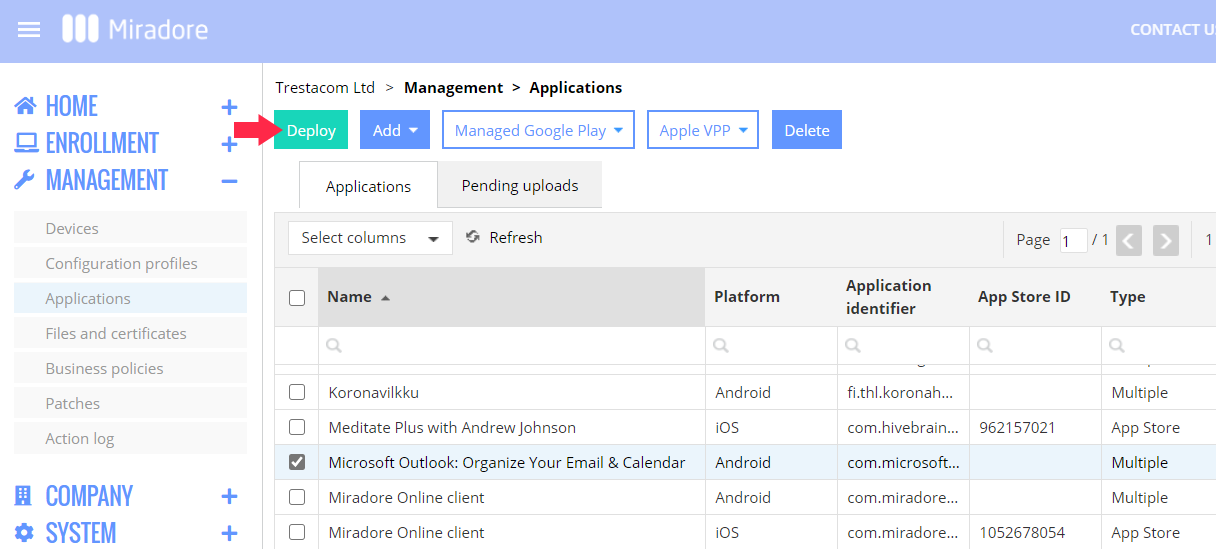 Application deployment instructions for Android