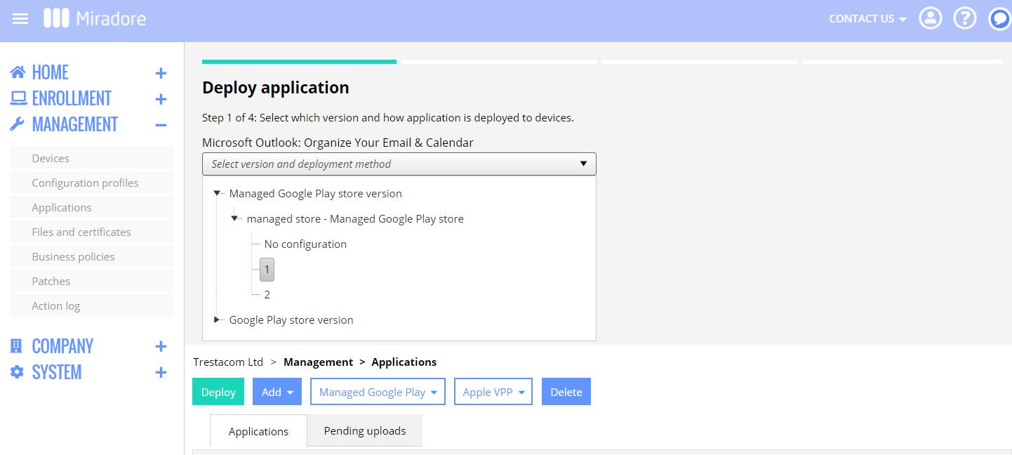 Choosing app version for deployment