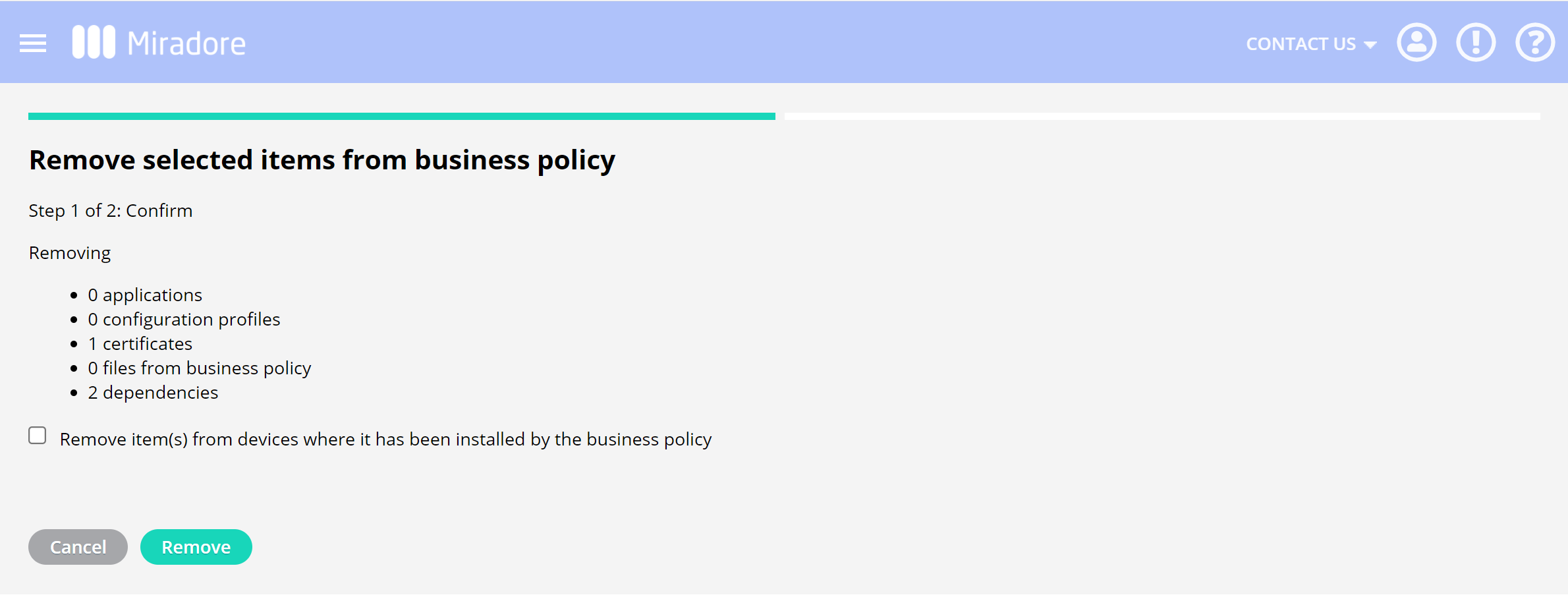 remove items wizard in business policy