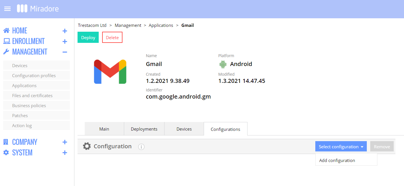 Adding managed app configuration for Gmail