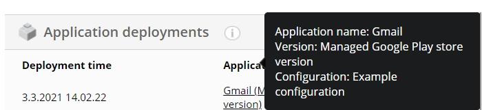 App deployment details