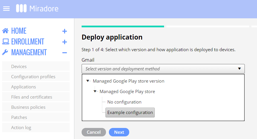Choosing a managed app configuration for an app distribution