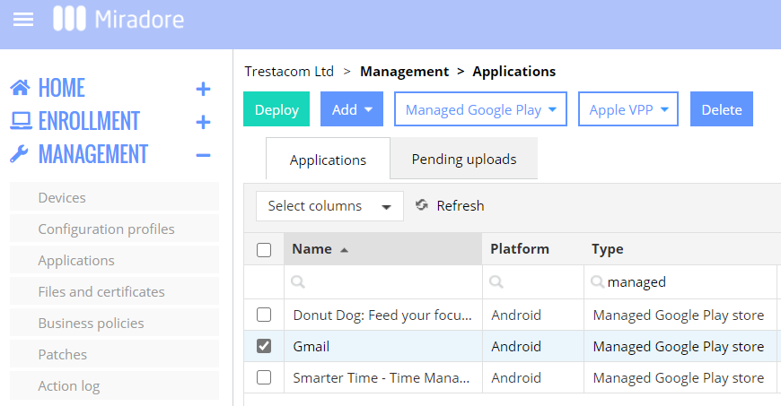 How to deploy a managed Google Play app