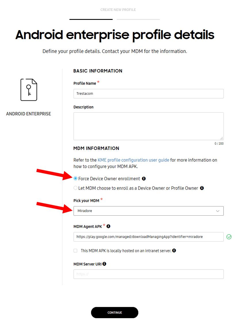 Android Enterprise profile details