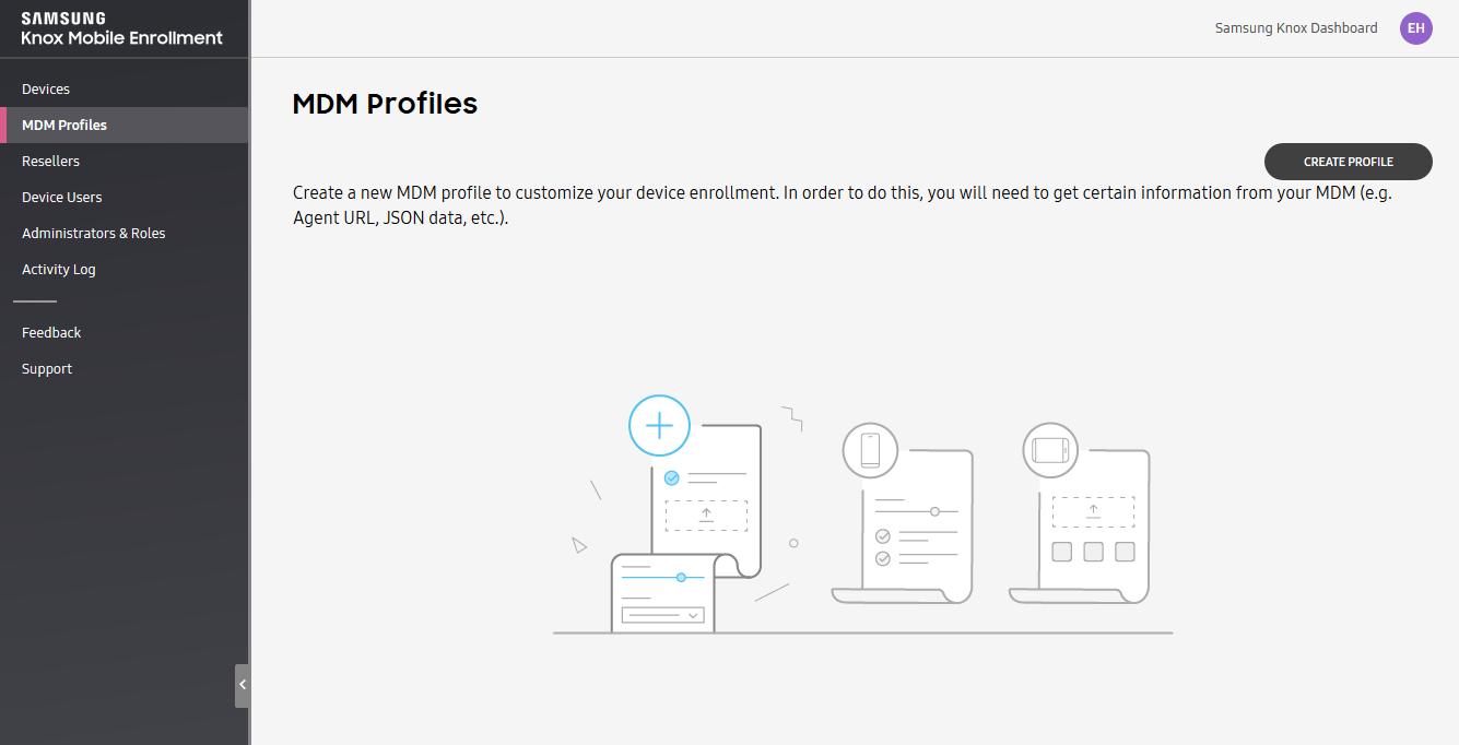 Creating an MDM profile in Samsung Knox Mobile Enrollment portal