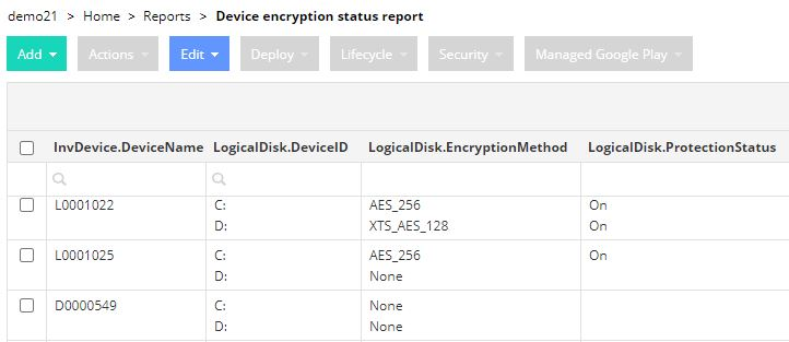 Custom-made report about devices BitLocker encryption status.