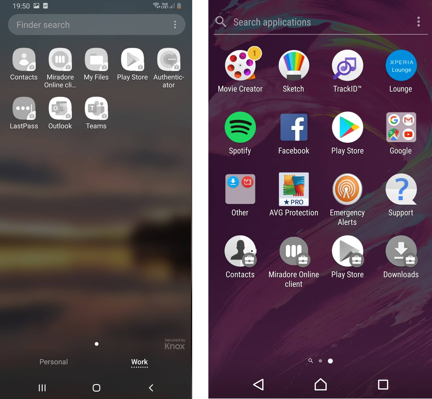 Android Work Profile applications