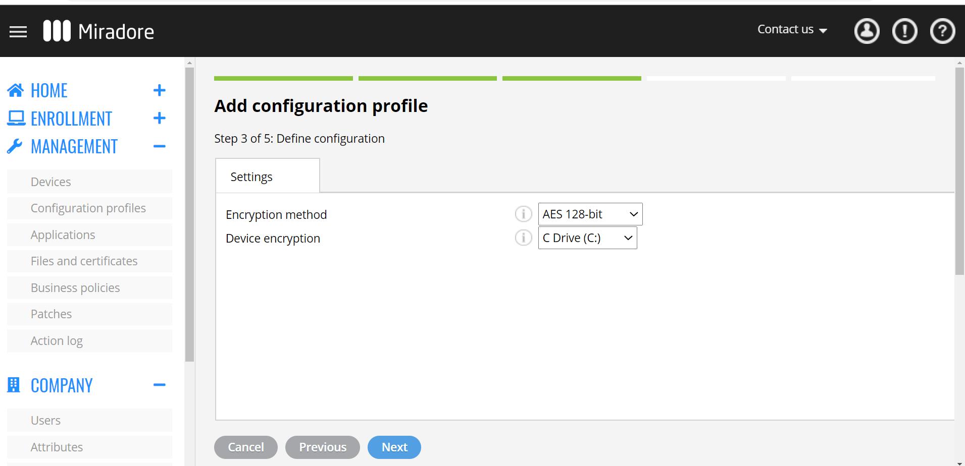 BitLocker configuration settings