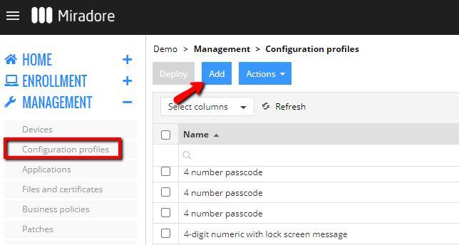 Creating a configuration profile
