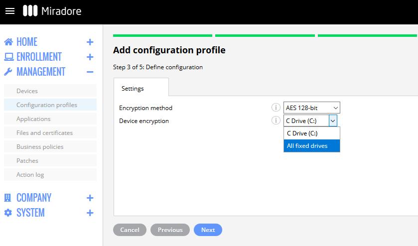 BitLocker configuration profile