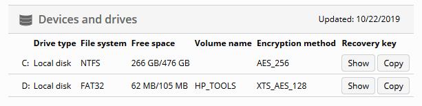 BitLocker recovery keys stored in Miradore