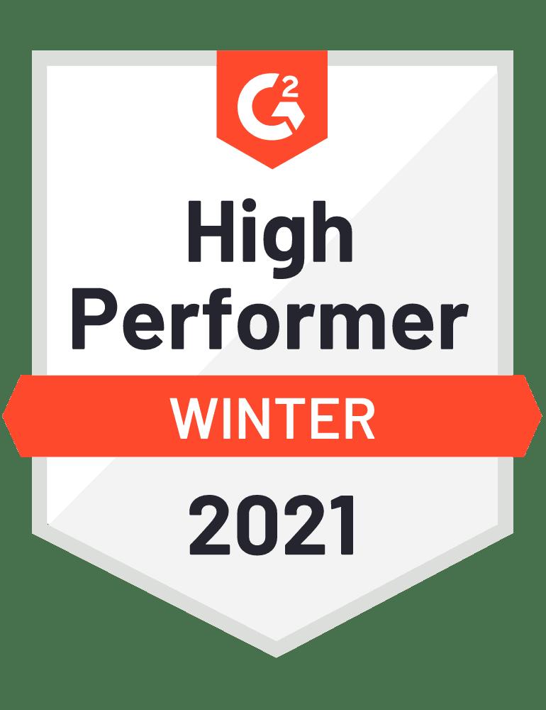 G2 High Performer badge 2021