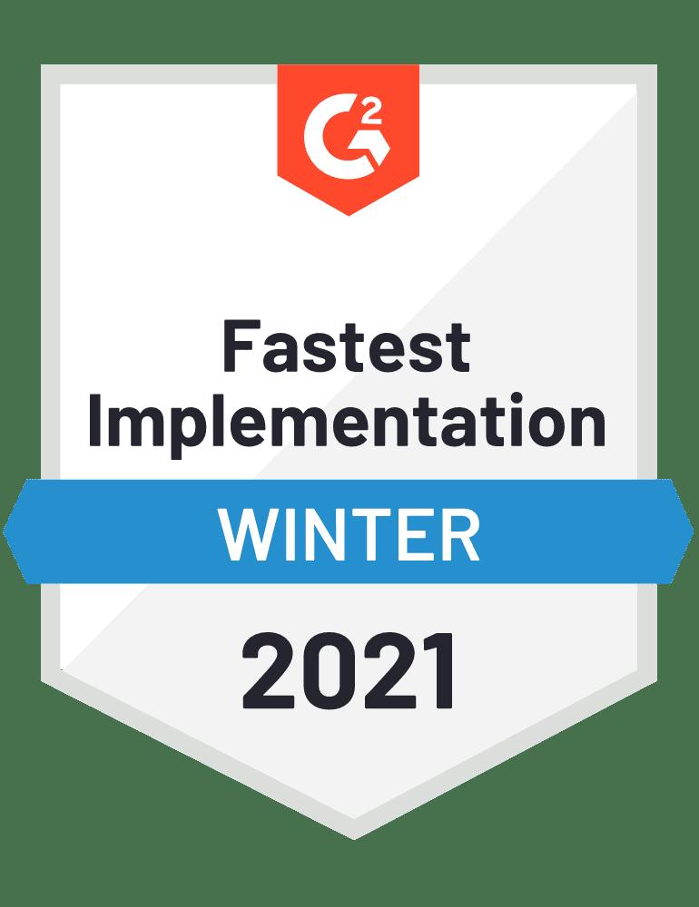 G2 Fastest Implementation badge 2021