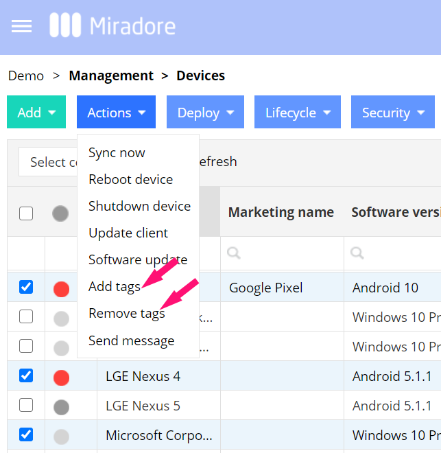 Add or remove device tags
