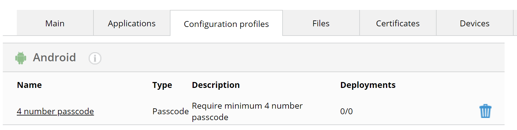 Configuration profiles tab