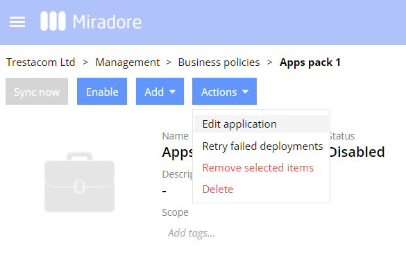 How to edit apps assigned to a business policy