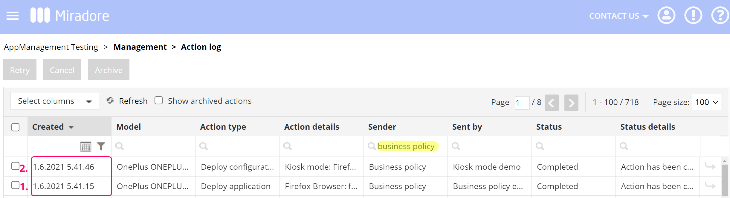 View action log for business policy dependency