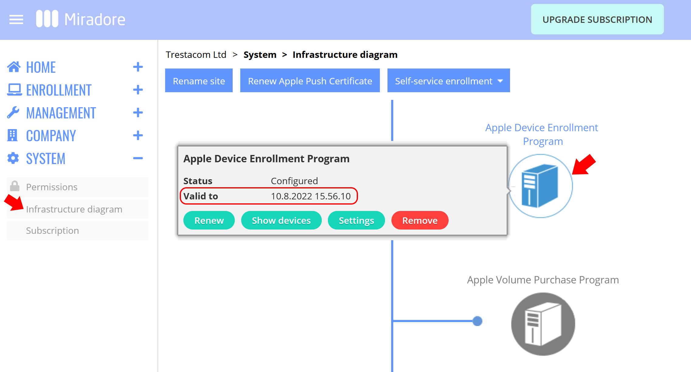 Apple DEP token validity period is shown in Miradore.