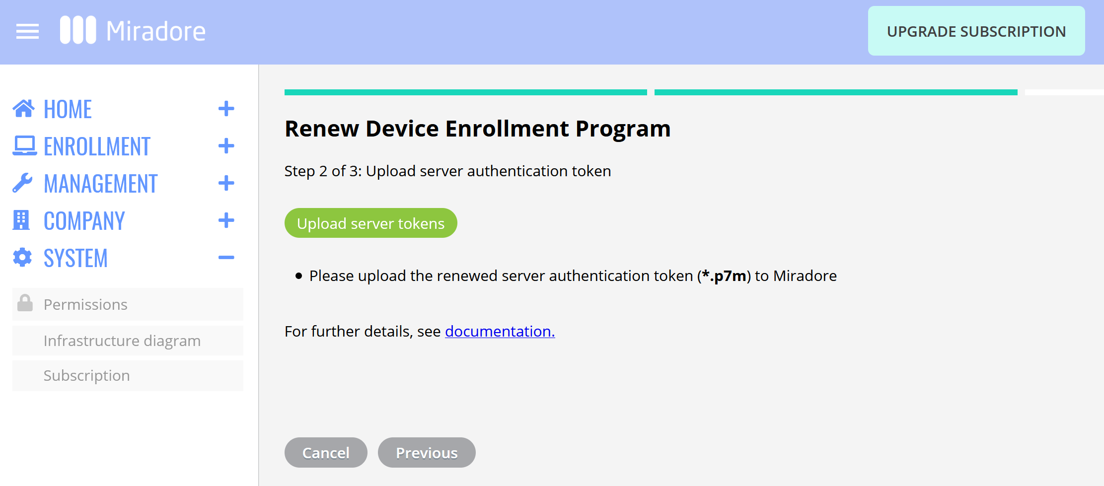 Uploading Apple DEP server token to Miradore