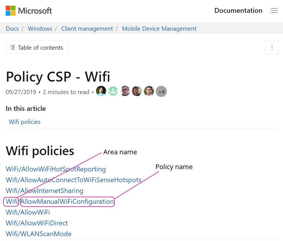 Microsoft document for Wifi custom policy