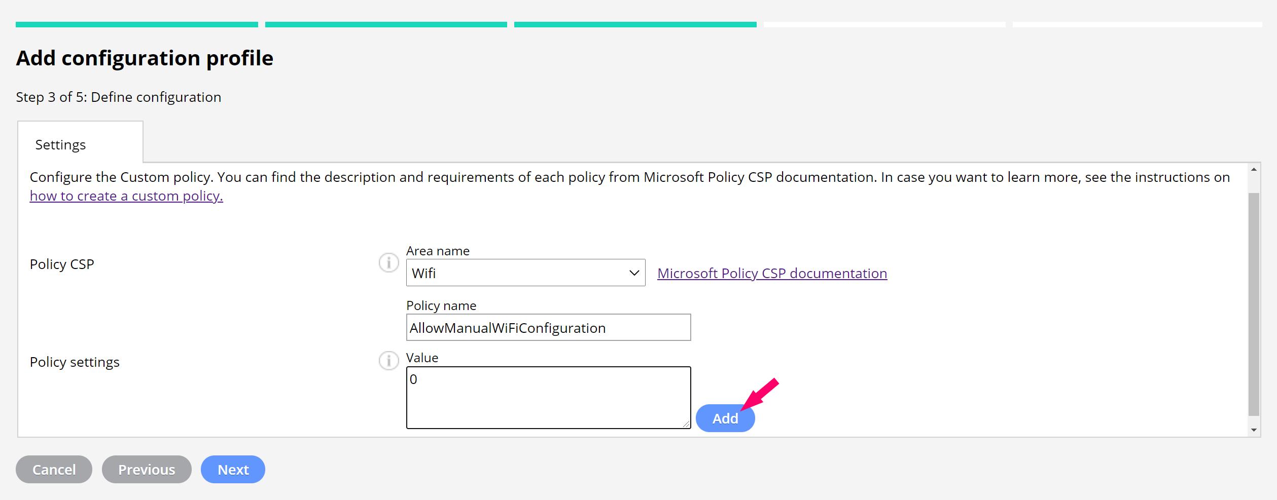 Custom policy settings