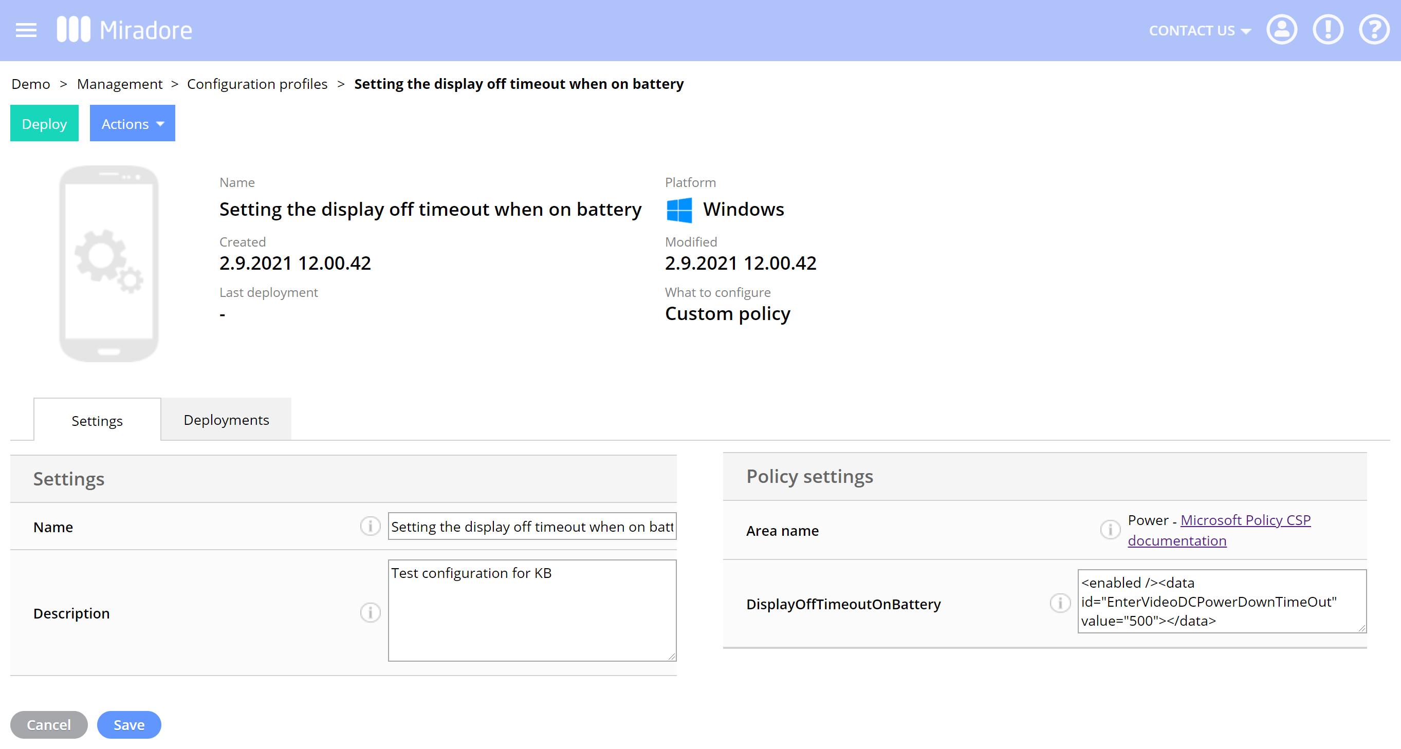 Edit Windows custom configuration