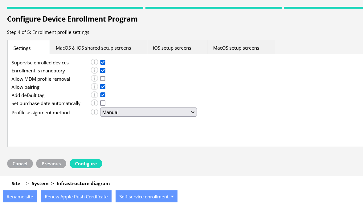 setting for enrollment profile iOS and macOS